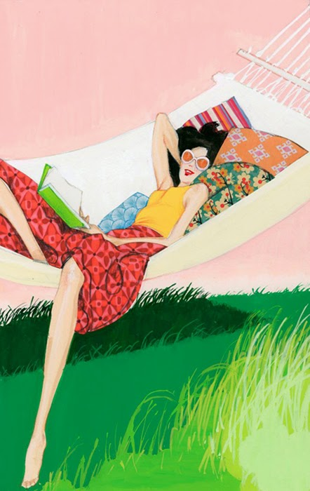 illustration by Robert Wagt of a woman reading in a hammock