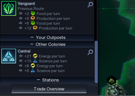 The Establish Trade Route menu. The top city is domestic; the bottom is foreign. Note the differences in trade output.