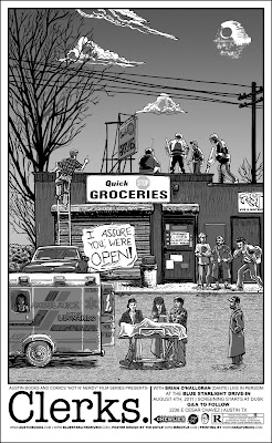 Clerks Black &amp; White Variant Screen Print by Tim Doyle