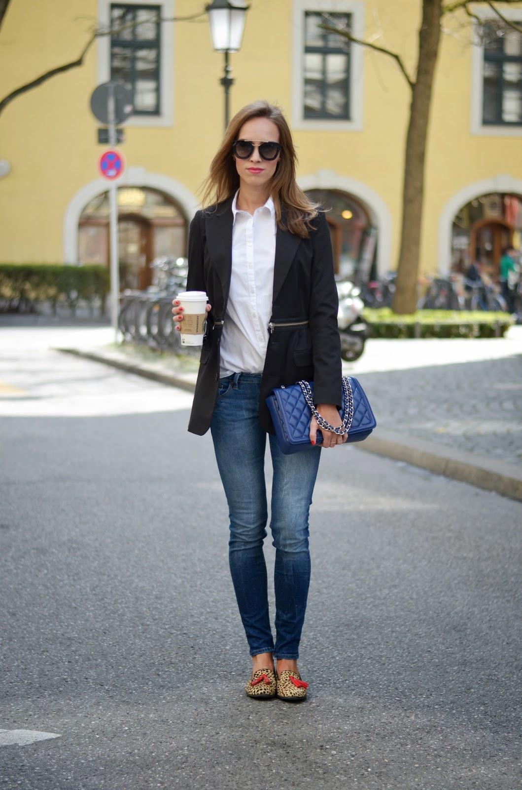 kristjaana mere black blazer white shirt blue jeans