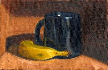 Oil painting of a banana and a blue enamel coffee mug.