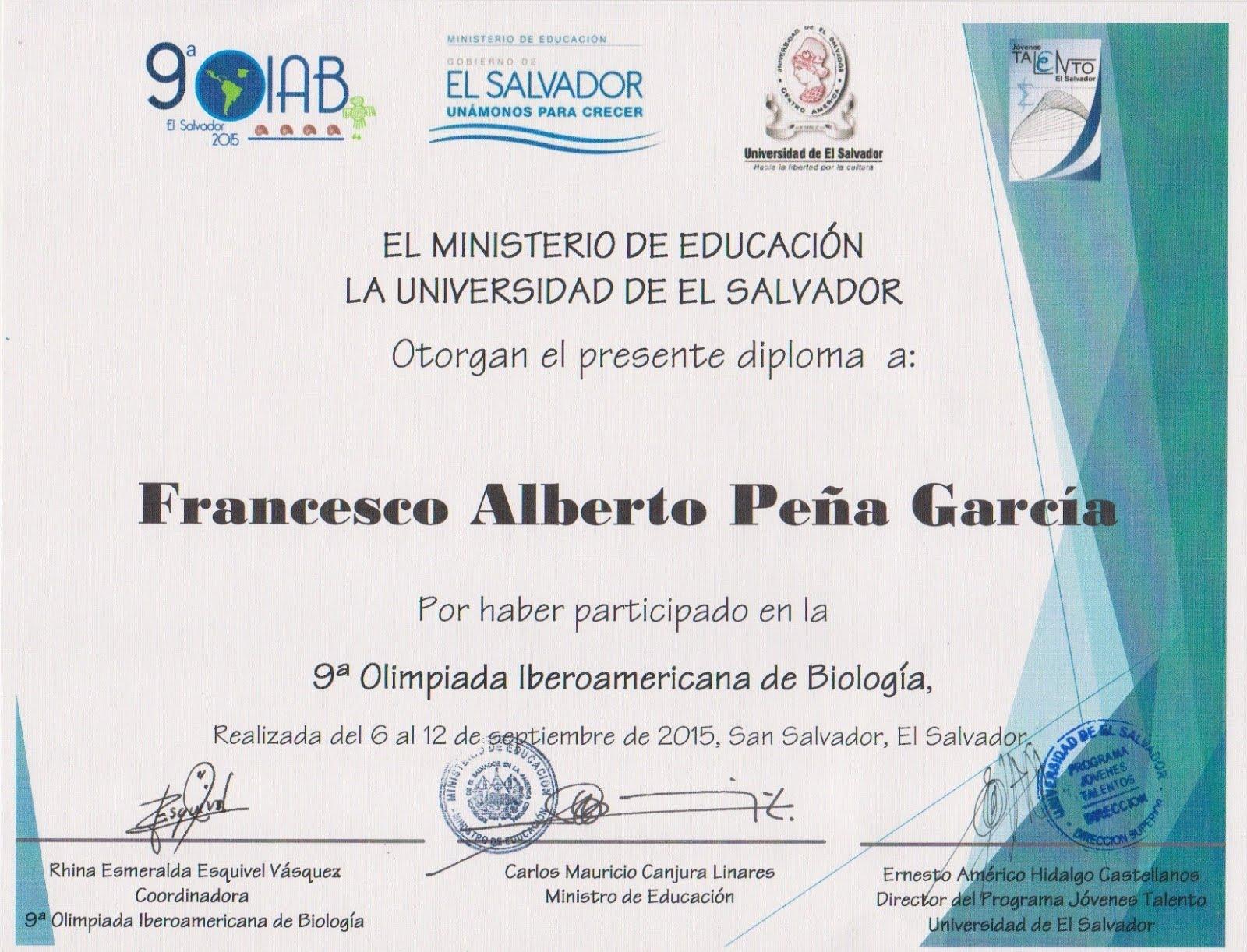 IX OLIMPIADA IBEROAMERICANA DE BIOLOGÍA OIAB EL SALVADOR 2015.