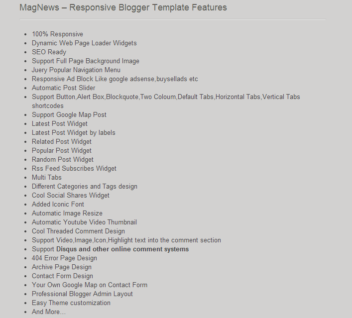 Features Magnews responsive blogger template