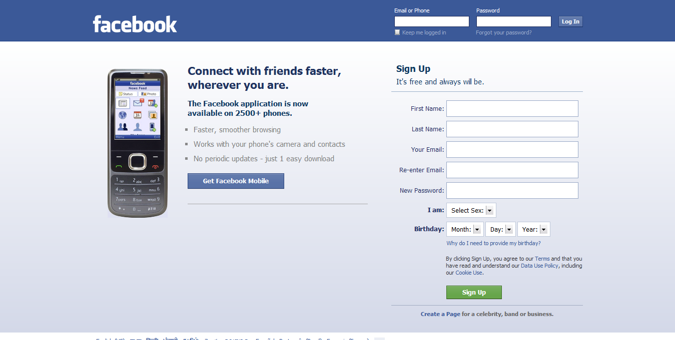 Login login facebook sign up page