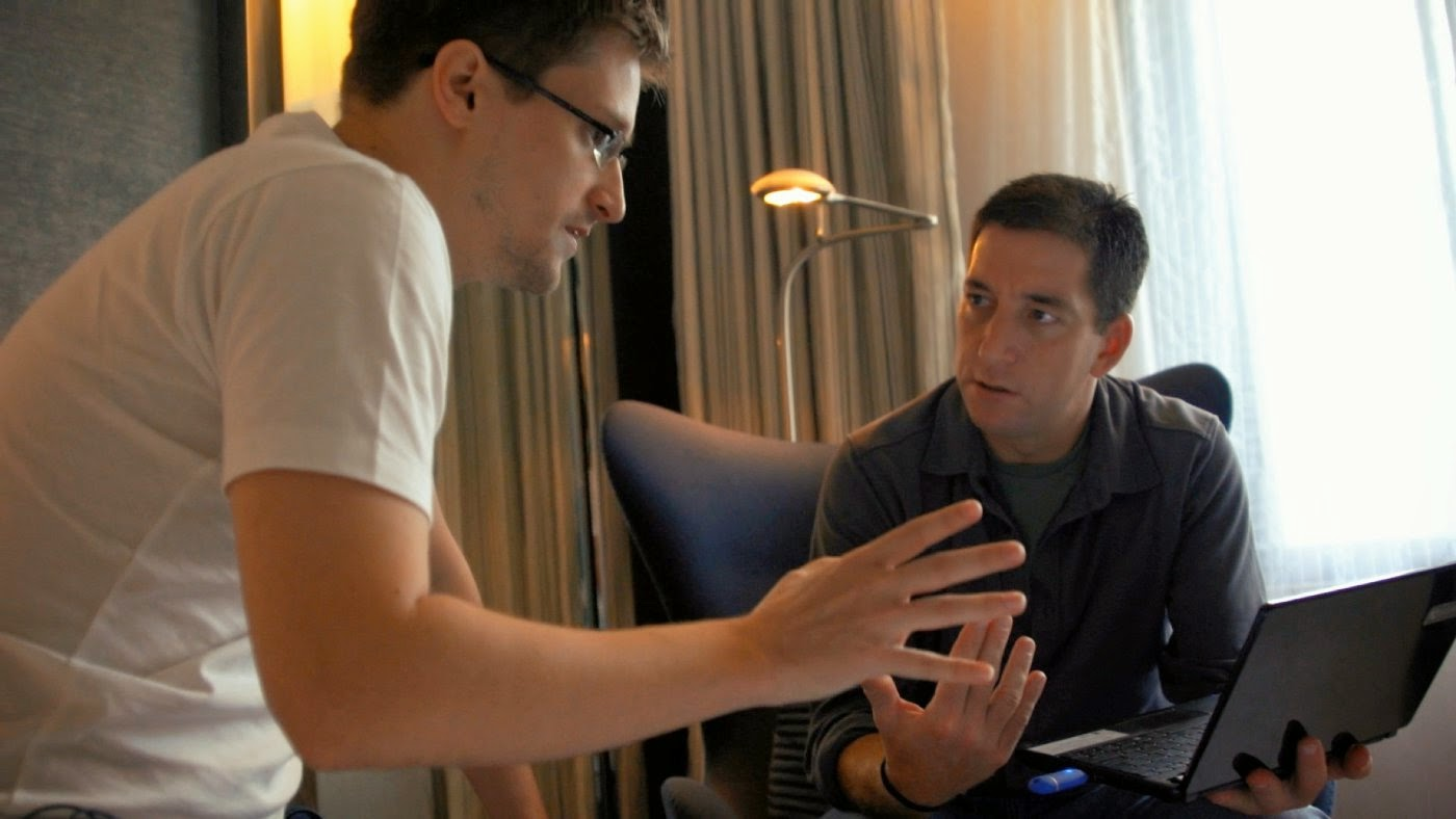 Edward Snowden and Glenn Greenwald in CitizenFour