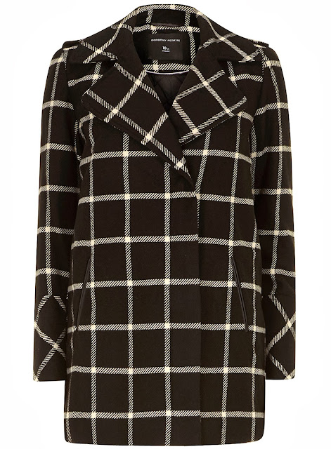 black and white check coat