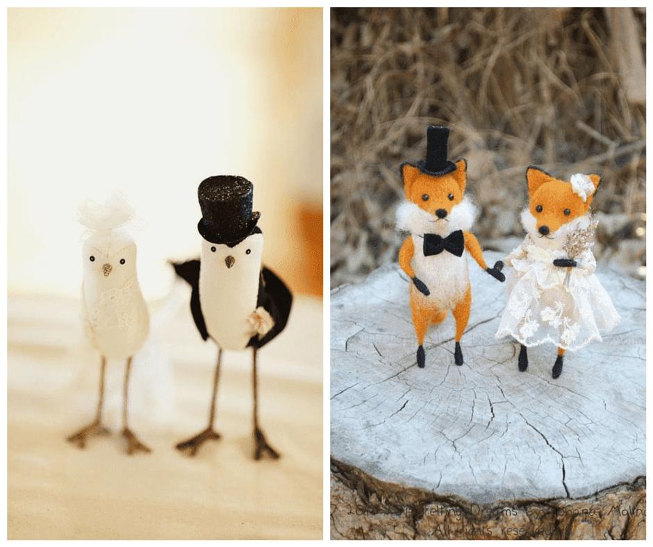 фигурки на животни за поставяне върху сватбената торта