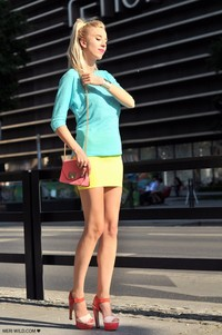 mint + yellow + pink Zara heels river island skirt