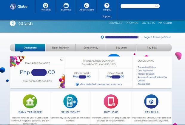 Globe GCash Online Dashboard