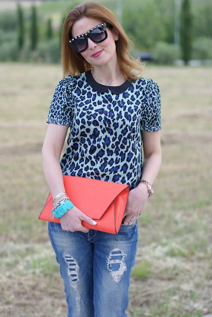 Zara orange clutch, leopard print blouse, white nails, Fashion and Cookies
