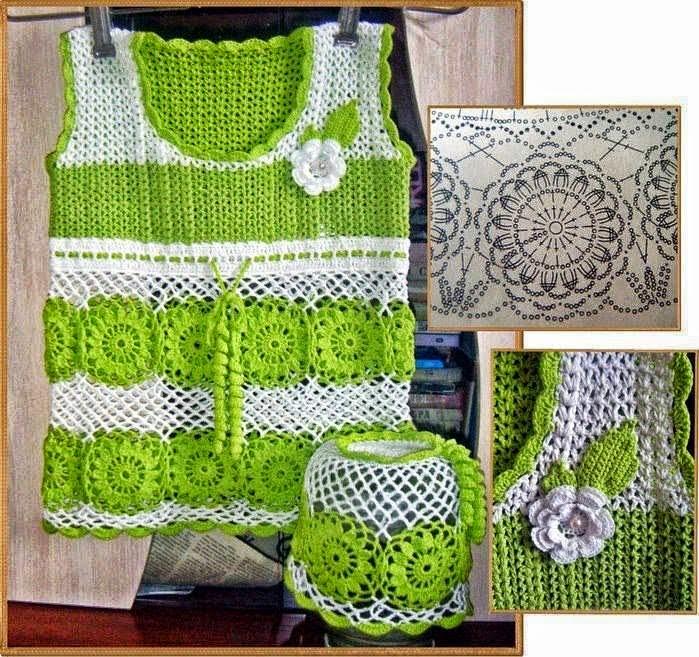 Blusa tejida al crochet con motivo floral - con diagrama