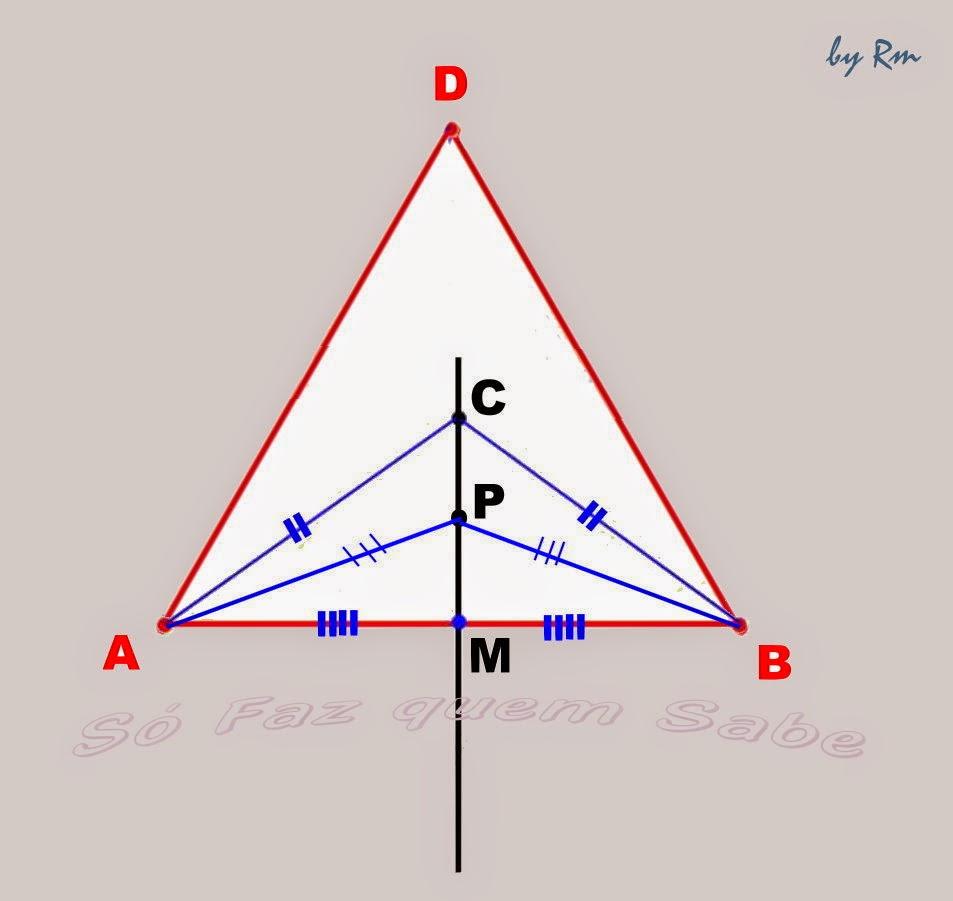 Qualquer ponto de uma mediatriz é equidistante aos dois vértices do lado a que se refere esta mediatriz.