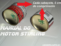 Manual do motor Stirling, cabeçote com medidas