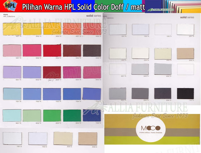001.HPL solid color warna Moco doff