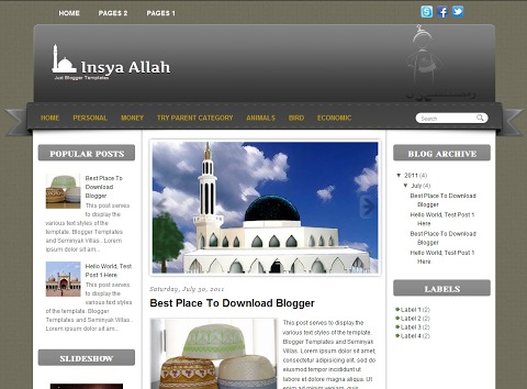 Insya Allah - Islamic Blogger Template