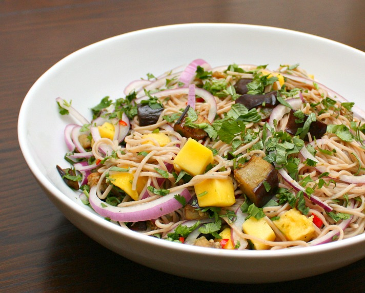 APPLE A DAY: Meatless Monday--Soba Noodles with Eggplant and Mango