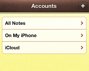 icloud notes accountas on iphone