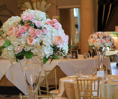 Saratoga Hall of Springs Hydrangea & Rose Centerpiece - Splendid Stems Event Florals