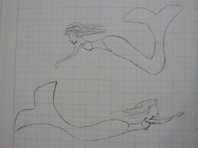 fused glass mermaid drawing sketch original flutterbyfoto flutterbybutterfly