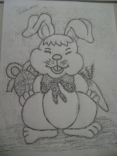 coelho com cenoura e ovo de pascoa