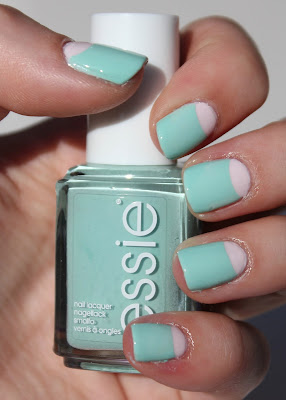 Essie Mint Candy Apple Half Moon Mani