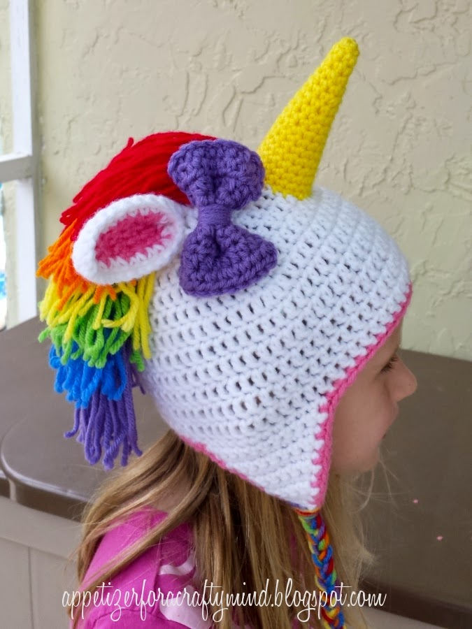 Crochet Pattern For A Unicorn Hat : Appetizer for a Crafty Mind: Rainbow Crochet Unicorn Hat