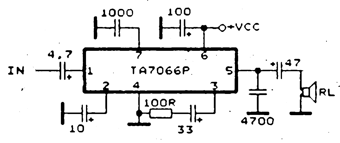 low power audio amplifier with ic ta7066p