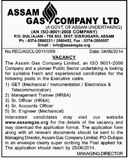 Common Letters district manager resume : Engineer, Officer Jobs in Assam Gas Company Ltd., Duliajan ...