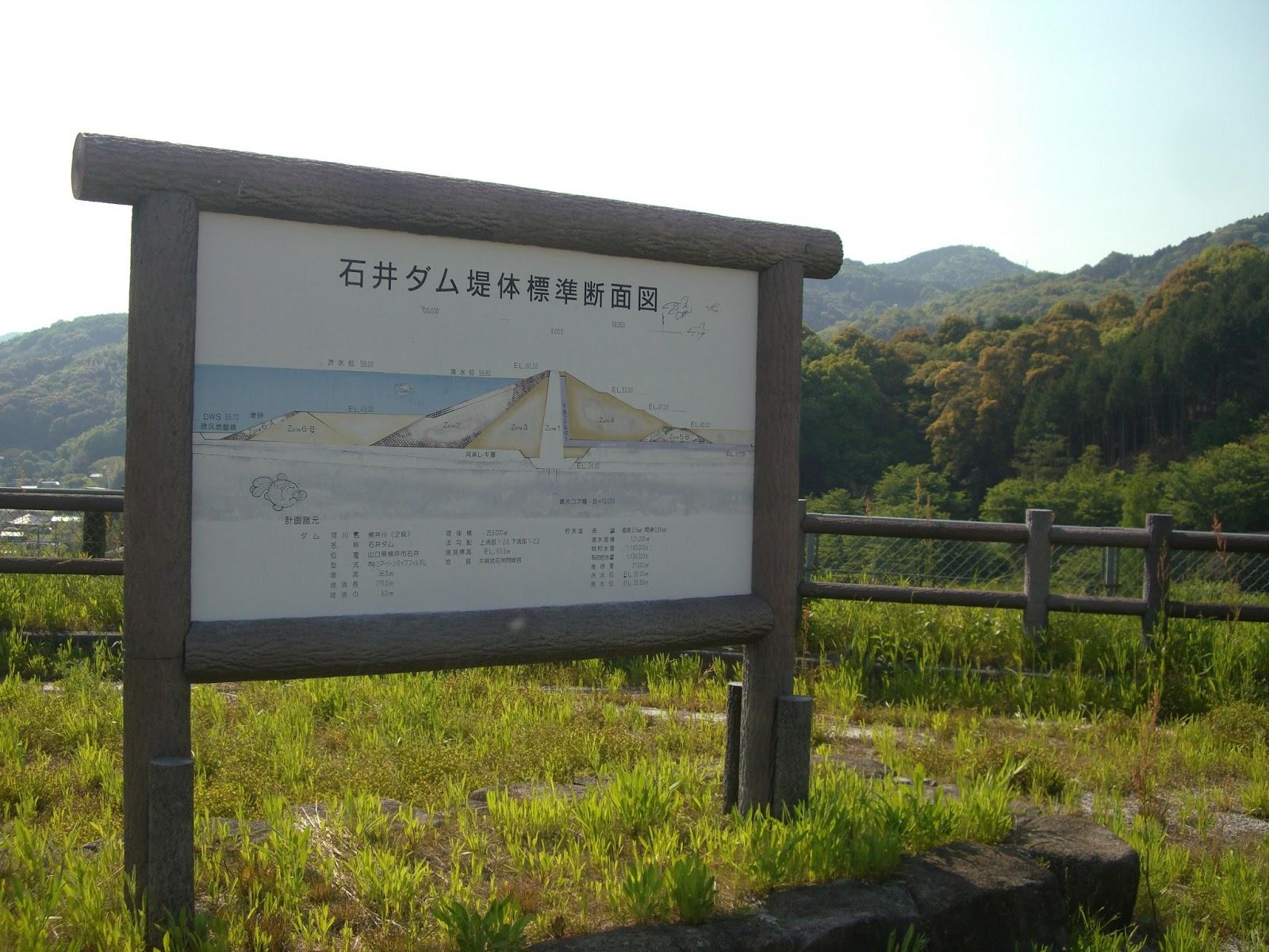 石井ダムの断面図