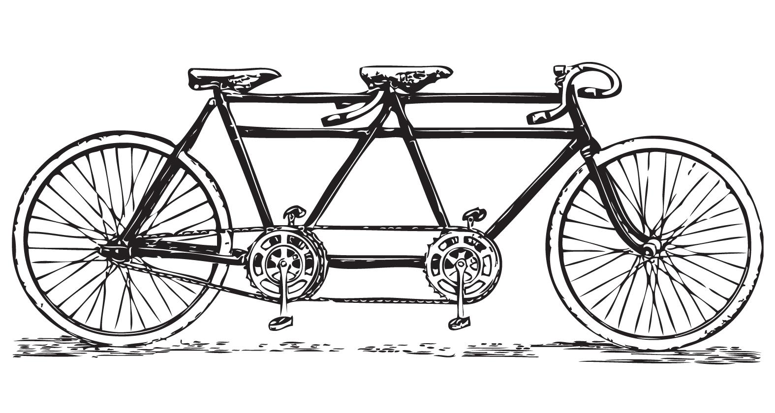 Vintage Tandem Bicycle Clip Art