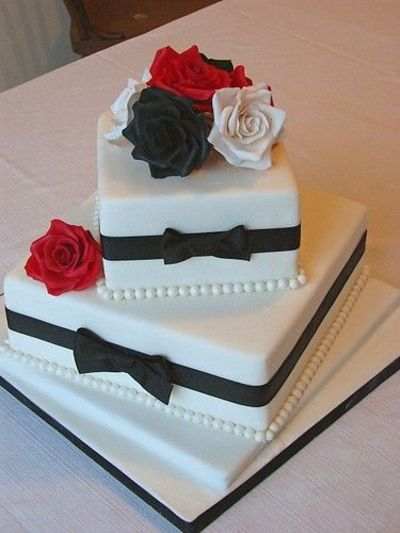 Wedding Cake Design Names : Three Colors, Black Red and White Wedding Cakes / Wedding ...