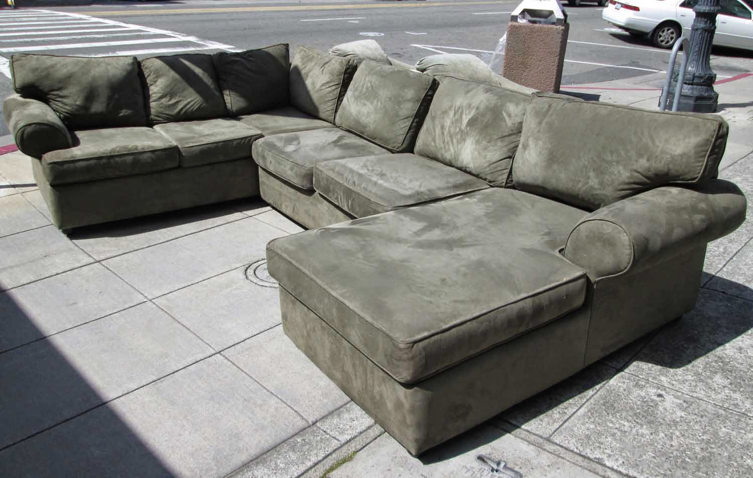 SOLD Olive Sectional Featuring Chaise and Sleeper - $395 : piedmont sectional - Sectionals, Sofas & Couches
