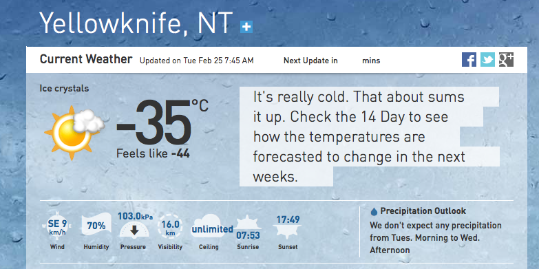 yellowknife weather 14 day