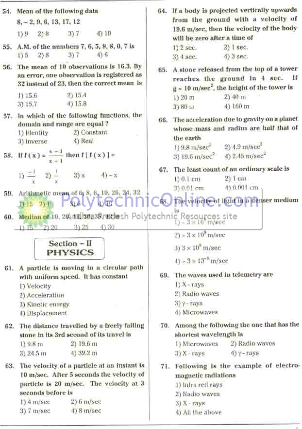 board of intermediate 2nd year previous question papers