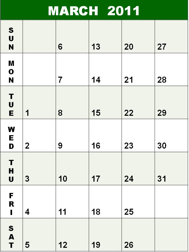 calendar for 2011 march. Calendar+for+2011+march