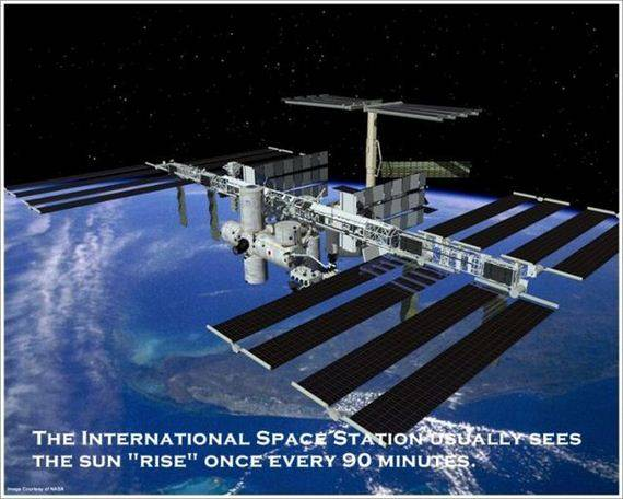 "THE INTERNATIONAL SPACE STATION USUALLY SEES THE ""RISE"" ONCE EVERY 90 MINUTES."