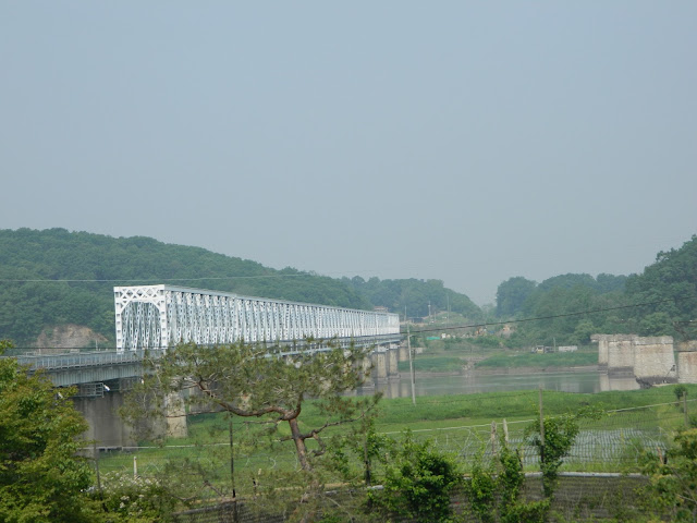 The railroad bridge with crosses the Imjin river