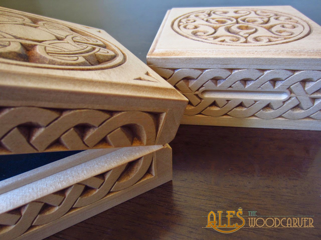 Ales the woodcarver trinket boxes with various celtic designs