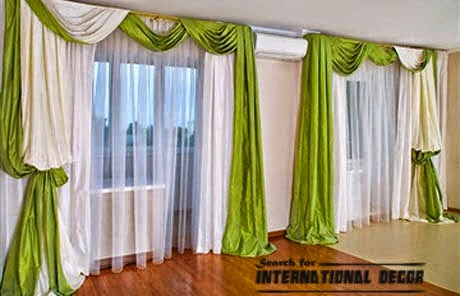 green bedroom curtains, scarf curtain designs, green scarf curtain