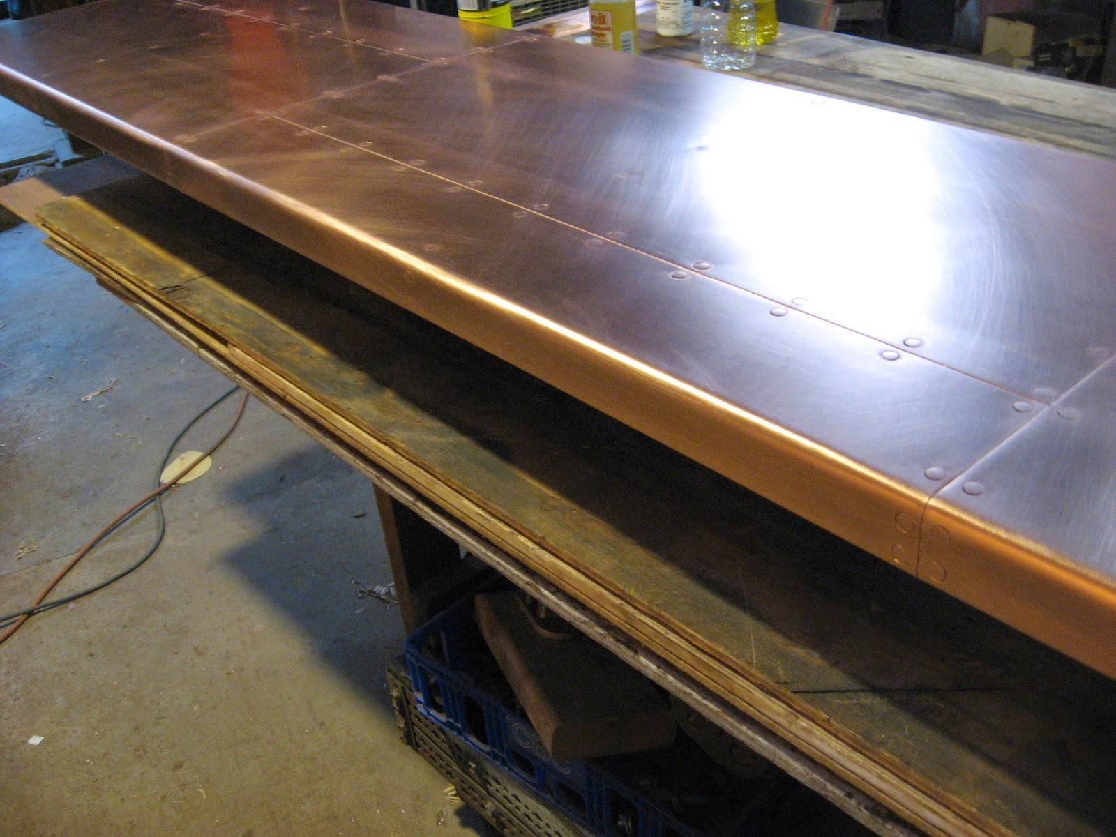 Heavy metal works heavy copper bar top for How to make a copper bar top