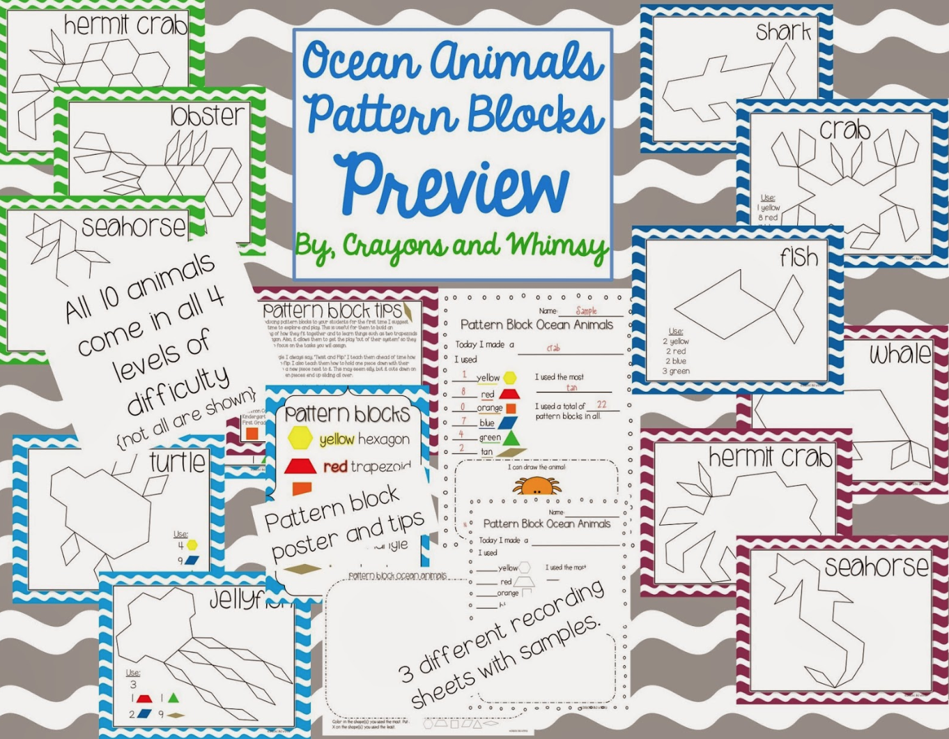 Ocean Animal Pattern Blocks Crayons and Whimsy math kindergarten