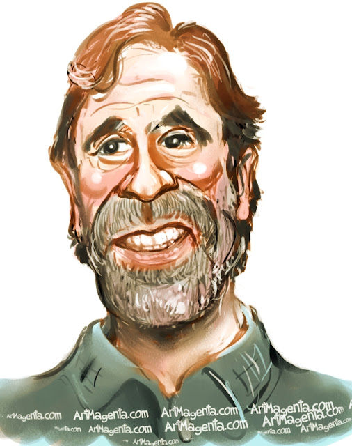 Chuck Norris caricature cartoon. Portrait drawing by caricaturist Artmagenta
