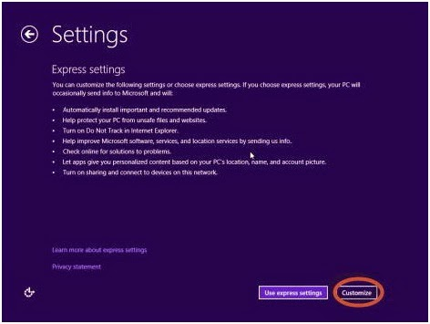 Menu setting Profile Windows 8