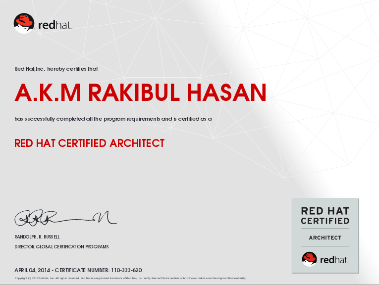 First(1st) Red Hat Certified Architect - RHCA In Bangladesh ...