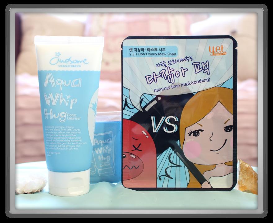 겟잇뷰티박스 by 미미박스 memebox beautybox Luckybox #9 unboxing review box awesome aqua whip hug foam cleanser Y.E.T don't worry mask sheet