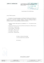 Respuesta de la Delegación Territorial a la solicitud de tablones de anuncios para la Sección Sindi