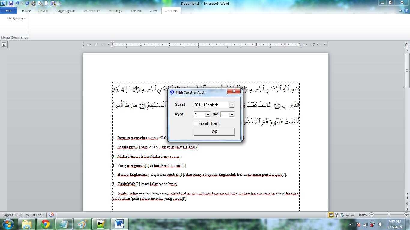 Al-Qur'an di Microsoft Word