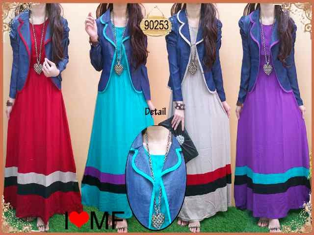 bahan Maxi rayon + cardi denim fit to L