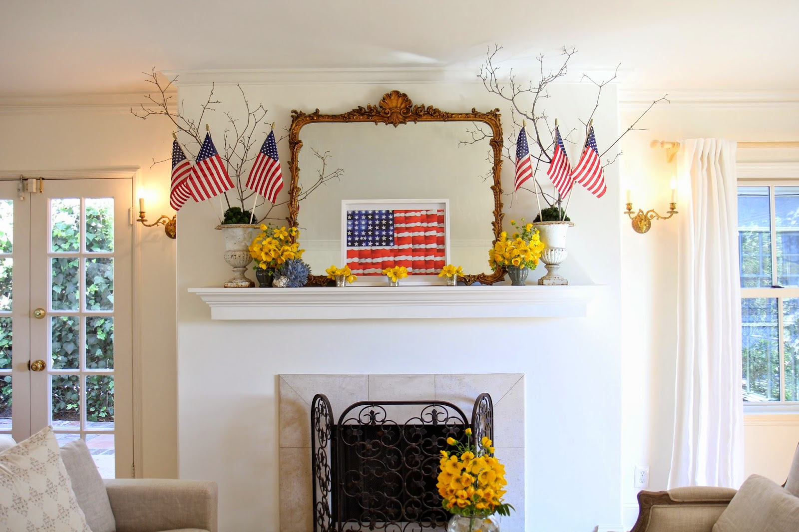 Fourth of July Mantle Decor in Living Room; American Flags; Nora's Nest