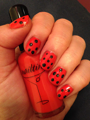 Halloween nails, Halloween nail art, polka dot nails, Nailtini Mai Tai, Zoya Storm, Zoya Ornate Collection, nail polish, nail varnish, nail lacquer, manicure, mani monday, #manimonday, nails